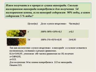 Изюм получается в процессе сушки винограда. Сколько килограммов винограда пот