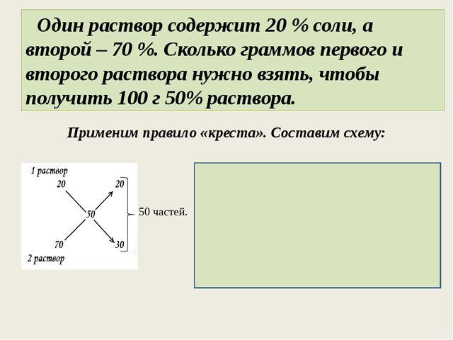 Один раствор содержит 20 % соли, а второй – 70 %. Сколько граммов первого и...