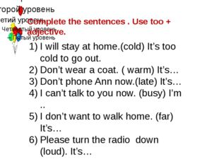 Complete the sentences . Use too + adjective. I will stay at home.(cold) It's