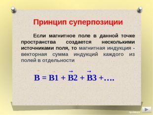Принцип суперпозиции Если магнитное поле в данной точке пространства создаетс