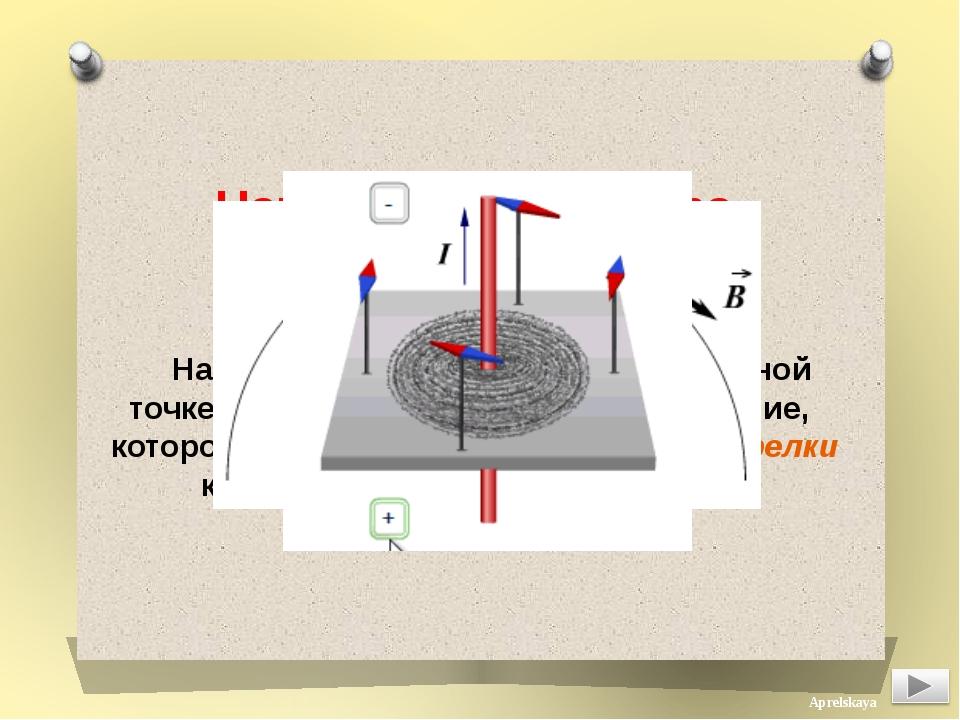 Направление вектора магнитной индукции Направление магнитного поля в данной...