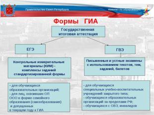 Формы ГИА ЕГЭ ГВЭ Государственная итоговая аттестация Контрольные измерительн
