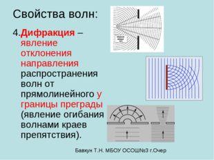 Свойства волн: 4.Дифракция – явление отклонения направления распространения в