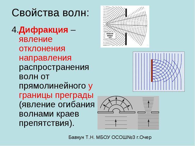 Свойства волн: 4.Дифракция – явление отклонения направления распространения в...