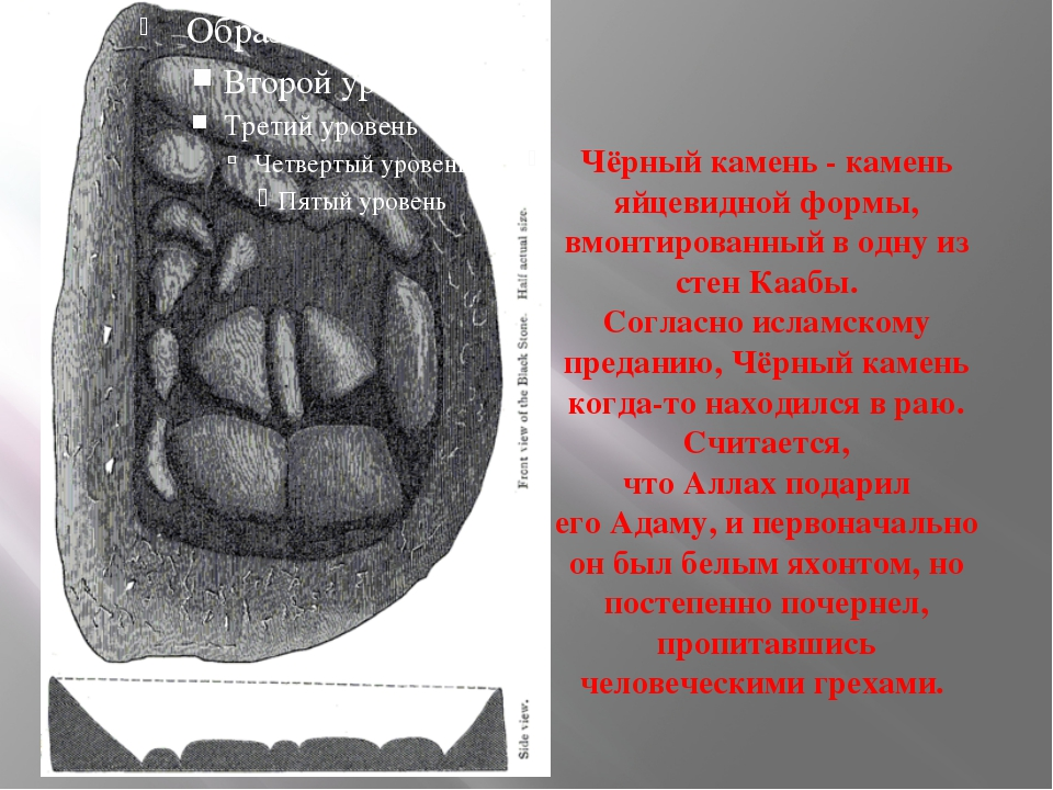 Чёрный камень - камень яйцевидной формы, вмонтированный в одну из стен Каабы....