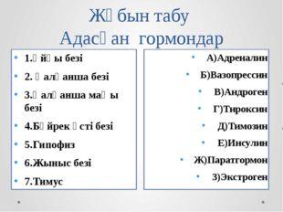 Жұбын табу Адасқан гормондар А)Адреналин Б)Вазопрессин В)Андроген Г)Тироксин