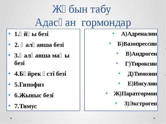 Жұбын табу Адасқан гормондар А)Адреналин Б)Вазопрессин В)Андроген Г)Тироксин...