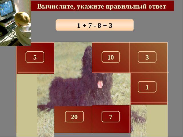 1 + 7 - 8 + 3 Вычислите, укажите правильный ответ 3 150 5 10 100 180 1 280 26...
