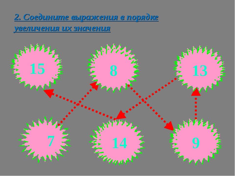 2. Соедините выражения в порядке увеличения их значения 10+5 19-10 11+2 17-3...