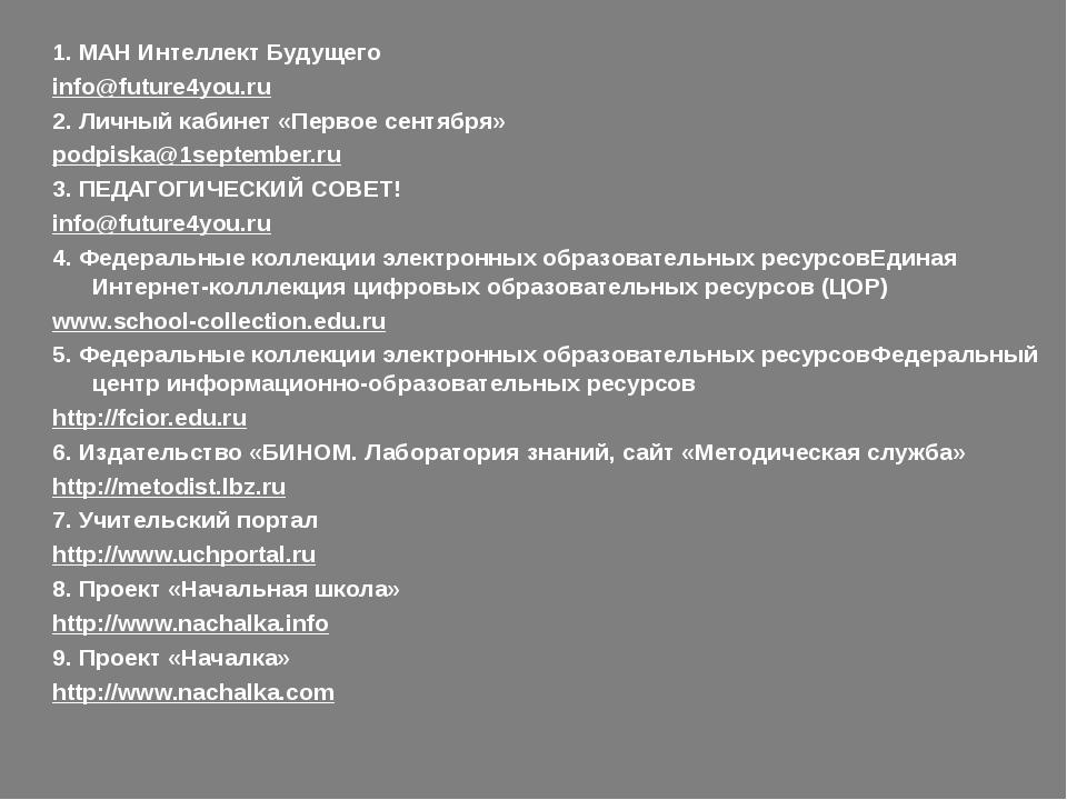 1. МАН Интеллект Будущего info@future4you.ru 2. Личный кабинет «Первое сентя...