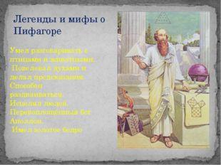 Легенды и мифы о Пифагоре Умел разговаривать с птицами и животными. Повелевал