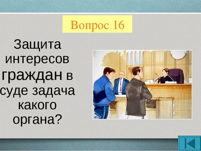 Вопрос 16 Защита интересов граждан в суде задача какого органа?