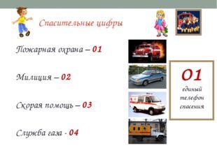Спасительные цифры Пожарная охрана – 01 Милиция – 02 Скорая помощь – 03 Служб