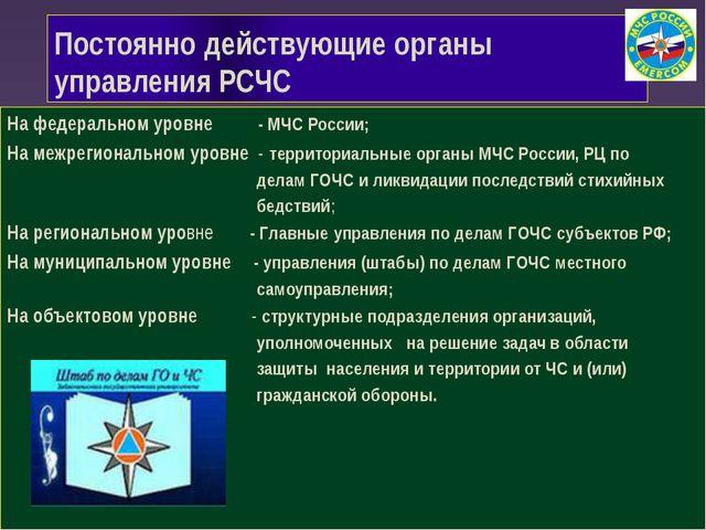 Постоянно действующие органы управления РСЧС На федеральном уровне...