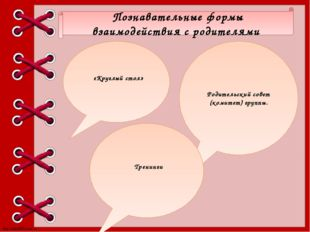 Познавательные формы взаимодействия с родителями «Круглый стол» Родительский