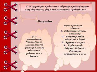Т. В. Короткова предлагает следующую классификацию нетрадиционных форм взаим