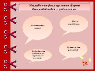 Наглядно-информационные формы взаимодействия с родителями Памятки для родител