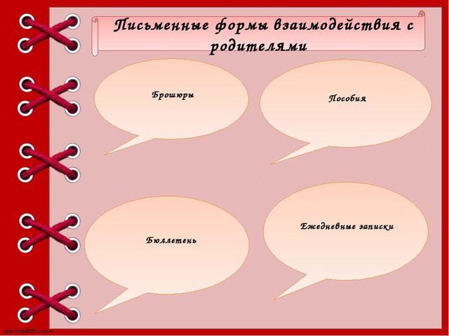 Письменные формы взаимодействия с родителями Брошюры Пособия Ежедневные запи...