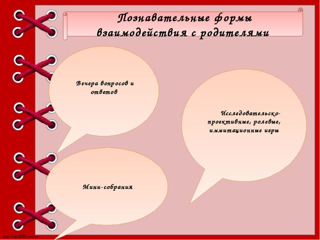 Познавательные формы взаимодействия с родителями Вечера вопросов и ответов М...