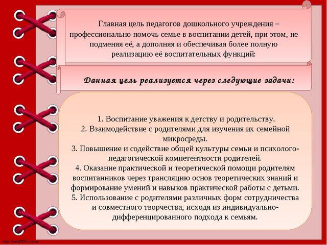 Главная цель педагогов дошкольного учреждения – профессионально помочь семье...