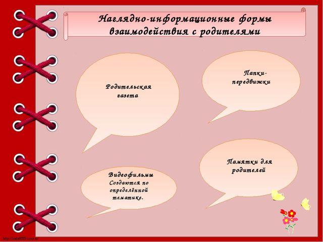 Наглядно-информационные формы взаимодействия с родителями Памятки для родител...