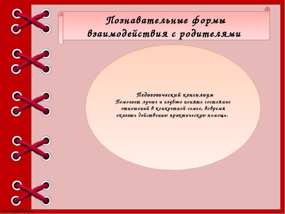 Познавательные формы взаимодействия с родителями Педагогический консилиум По...