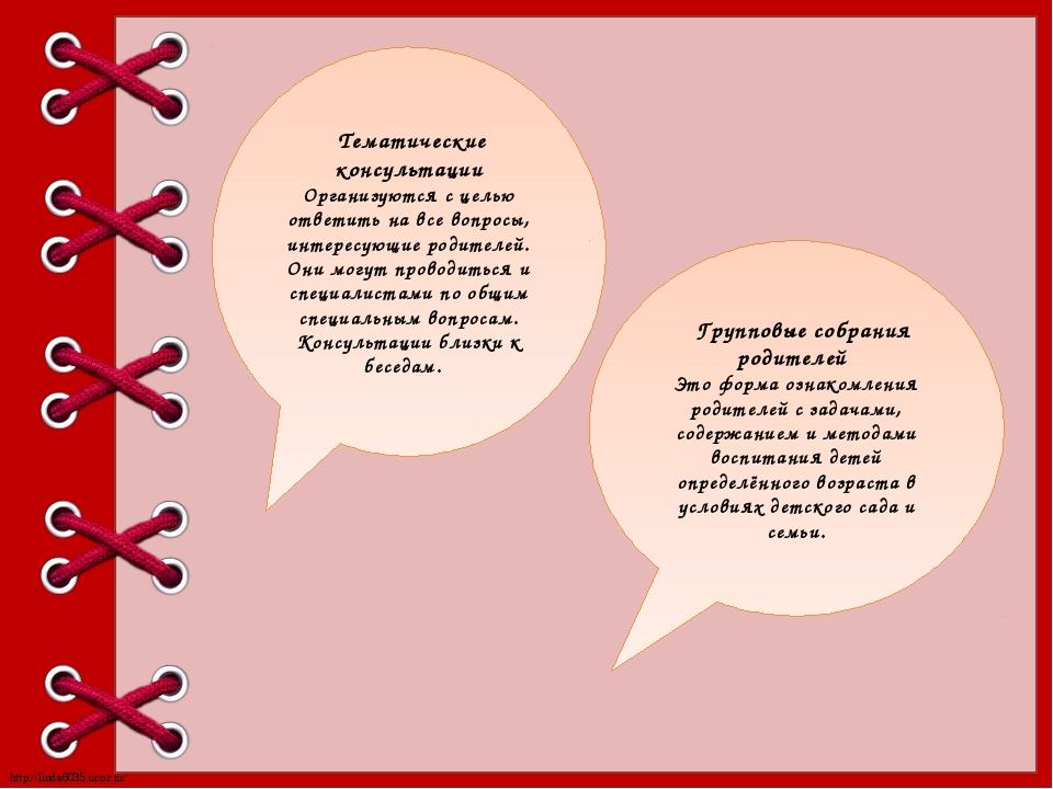 Тематические консультации Организуются с целью ответить на все вопросы, инте...