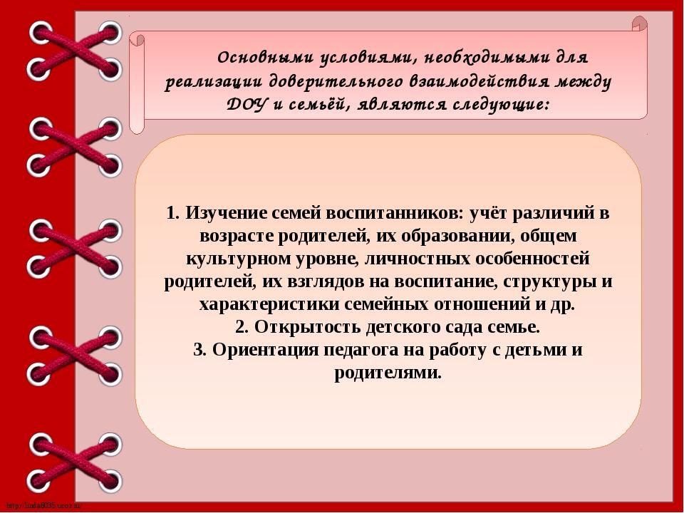 Основными условиями, необходимыми для реализации доверительного взаимодейств...