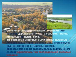 Село Константиново Рязанской губернии. Это вовсе не деревенская глушь, а боль