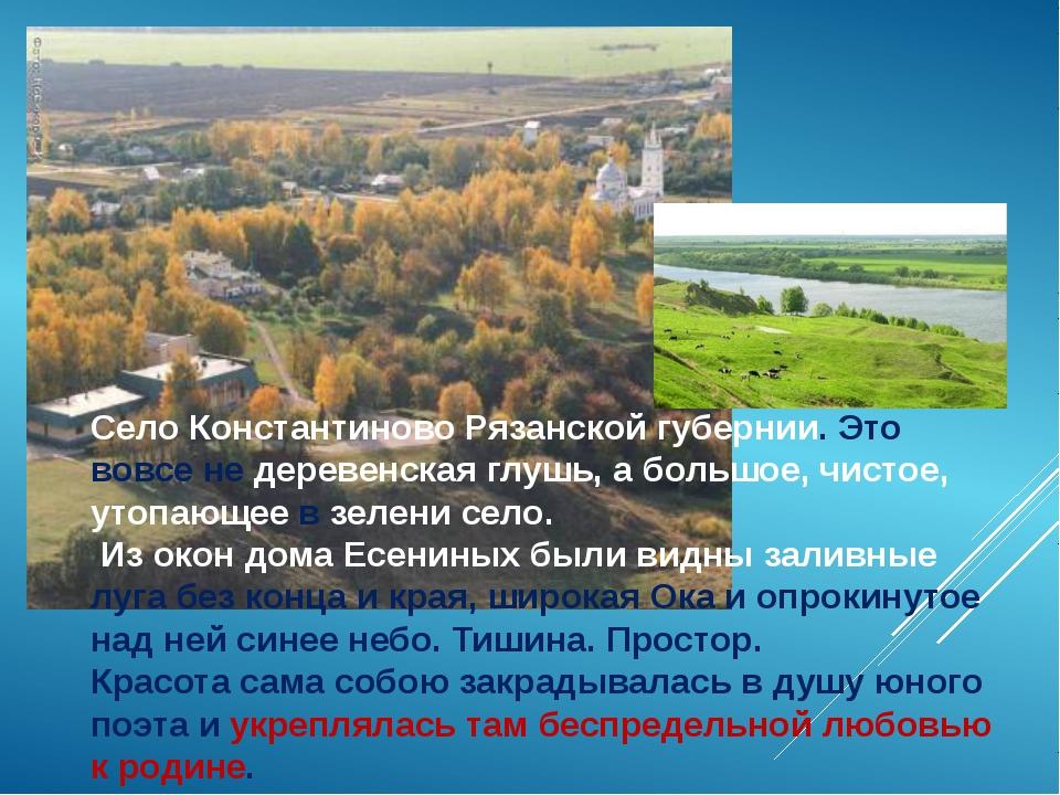 Село Константиново Рязанской губернии. Это вовсе не деревенская глушь, а боль...