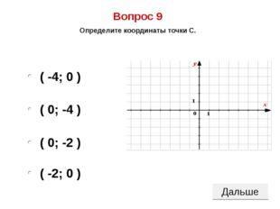 ( 0; -4 ) ( 0; -2 ) ( -2; 0 ) ( -4; 0 ) Вопрос 9 Определите координаты точки