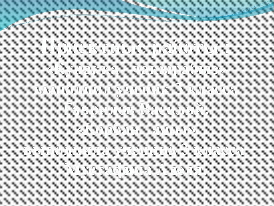 Проектные работы : «Кунакка чакырабыз» выполнил ученик 3 класса Гаврилов Васи...
