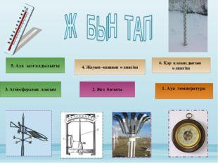4. Жауын –шашын өлшегіш 5. Ауа ылғалдылығы 1. Ауа температура 2. Жел бағыты 3