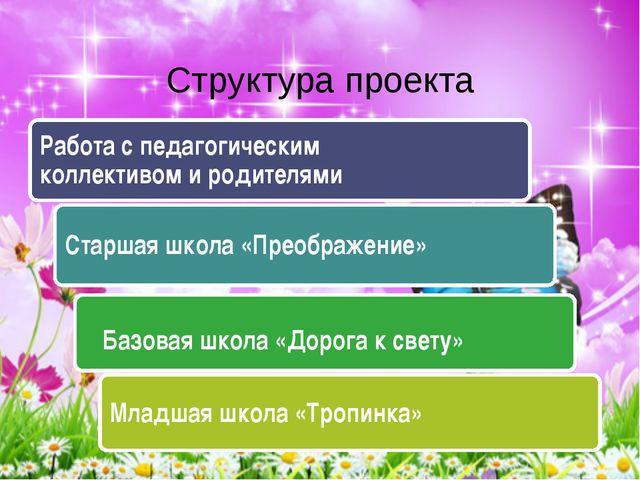 Структура проекта Младшая школа «Тропинка» Базовая школа «Дорога к свету» Ста...