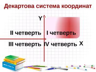 Декартова система координат Зарубина О.Б. МБОУ СОШ №3 Х Y I четверть III чет