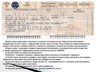 Первая строка проездного документа указывает на номер поезда. Первая буква п
