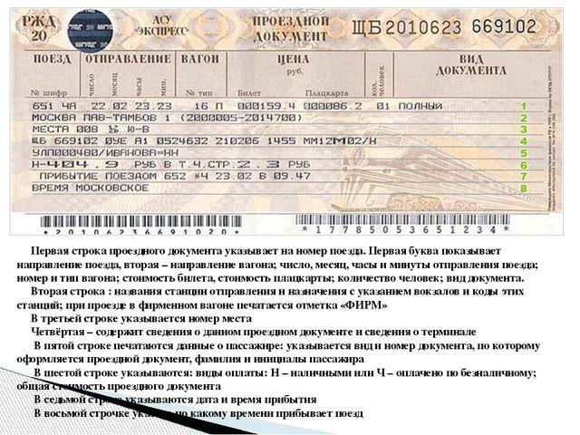 Первая строка проездного документа указывает на номер поезда. Первая буква п...