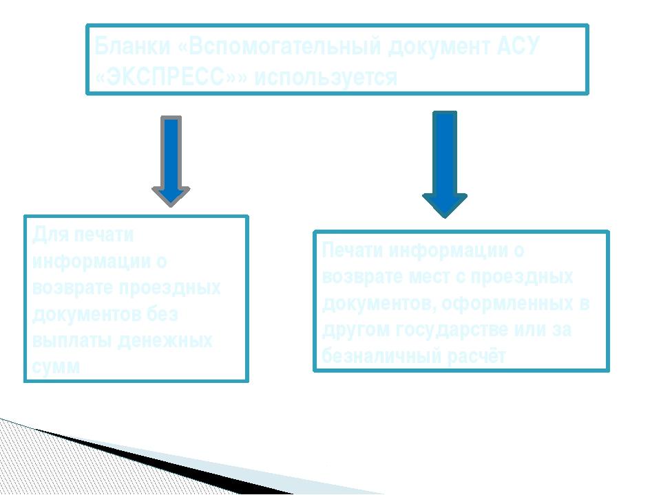 Бланки «Вспомогательный документ АСУ «ЭКСПРЕСС»» используется Для печати инфо...