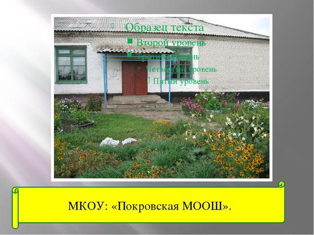 МКОУ: «Покровская МООШ».