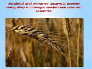 Алтайский край считается аграрным, поэтому свою работу я посвящаю профессиям