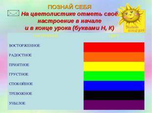 ПОЗНАЙ СЕБЯ На цветолистике отметь своё настроение в начале и в конце урока (