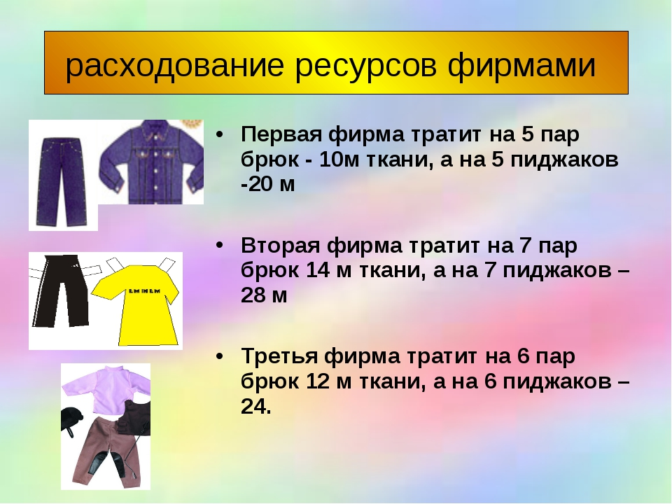 расходование ресурсов фирмами Первая фирма тратит на 5 пар брюк - 10м ткани,...