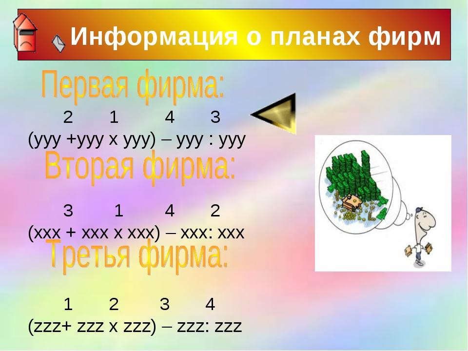 Информация о планах фирм 2 1 4 3 (yyy +yyy x yyy) – yyy : yyy 3 1 4 2 (xxx +...