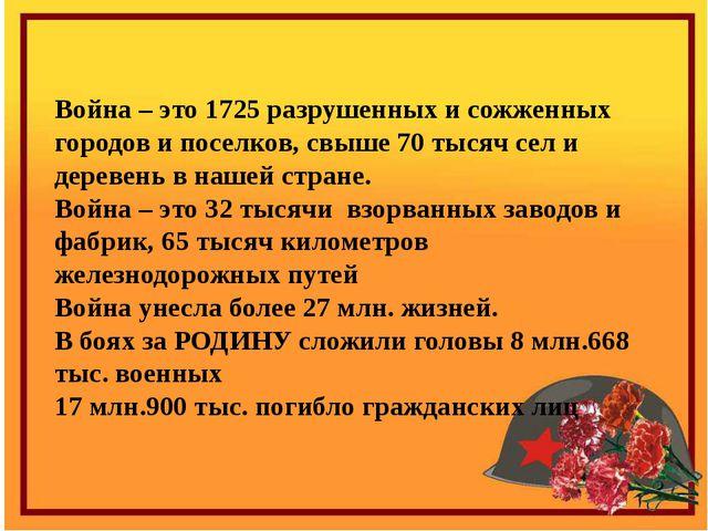 Война – это 1725 разрушенных и сожженных городов и поселков, свыше 70 тысяч с...