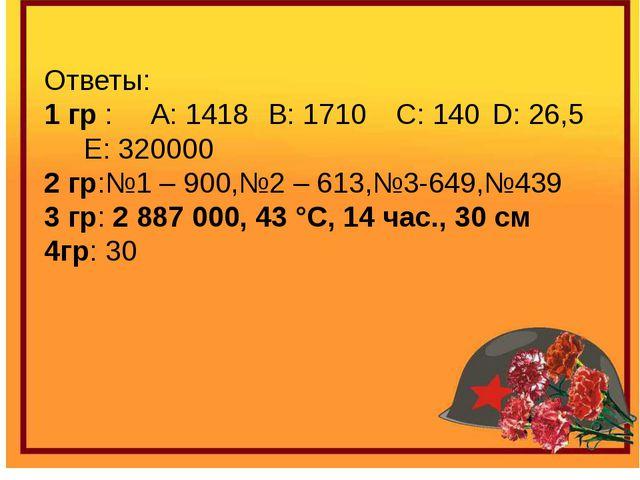 Ответы: 1 гр : A: 1418 B: 1710C: 140D: 26,5 E: 320000 2 гр:№1 – 900,№2 –...