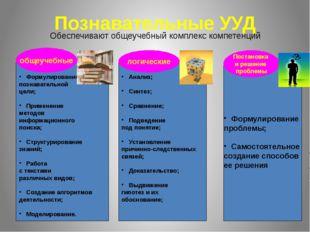 Познавательные УУД Обеспечивают общеучебный комплекс компетенций Формулирован
