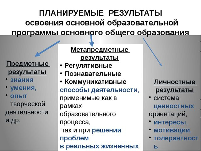 Предметные результаты знания умения, опыт творческой деятельности и др. Мета...