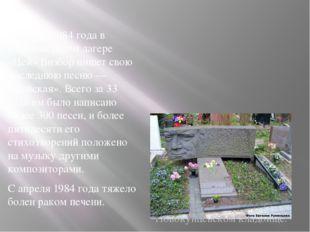 11 марта 1984 года в альпинистском лагере «Цей» Визбор пишет свою последнюю п