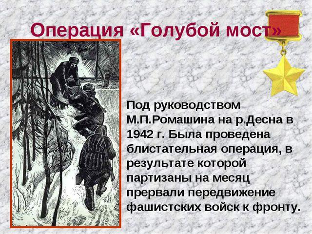 Операция «Голубой мост» Под руководством М.П.Ромашина на р.Десна в 1942 г. Бы...