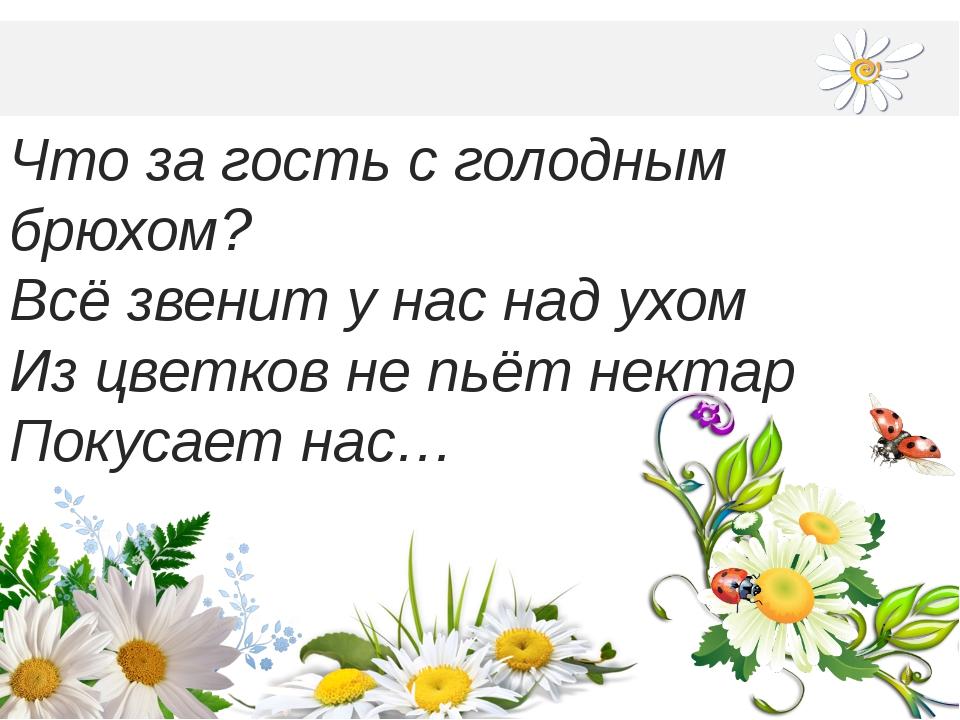 Что за гость с голодным брюхом? Всё звенит у нас над ухом Из цветков не пьёт...